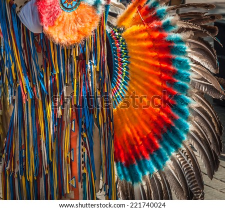 South American Indian musician costume detail - stock photo