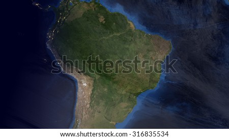 South American Space View (Elements of this image furnished by NASA)