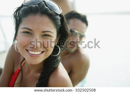 South American woman in bathing suit