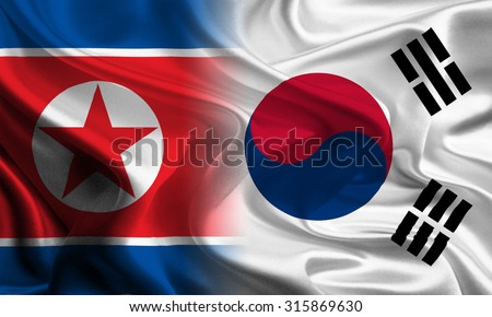South and North Korean Flags joining together concept - stock photo