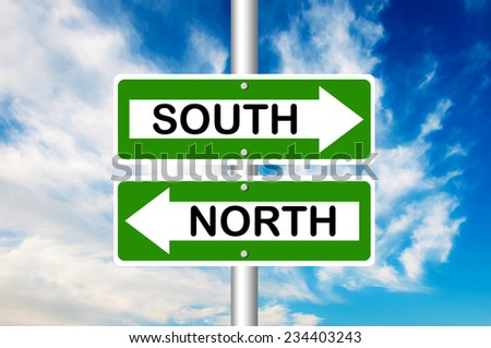 South and North Road Sign with a blue sky in a background