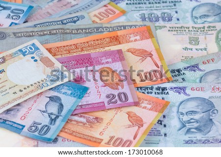 South Asian currencies of  India, Bangladesh and Sri Lanka - stock photo