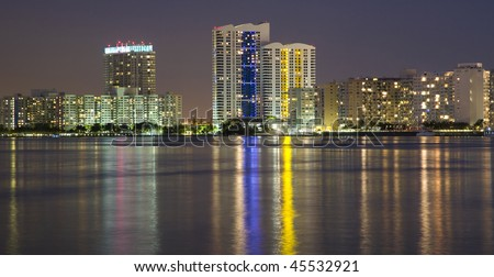 South Beach Apartment Buildings Across Biscayne Bay, Miami, Florida - stock photo