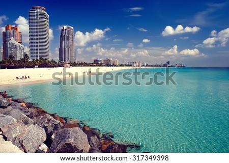 South Beach in Miami, Florida - stock photo