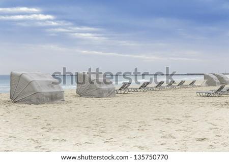South Beach lounge chairs, Miami, Florida - stock photo