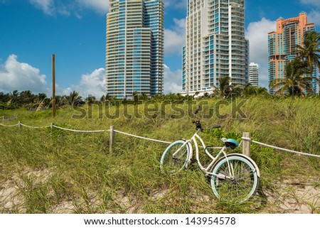 South Beach nature preserve in Miami Beach with tall condos in the background. - stock photo