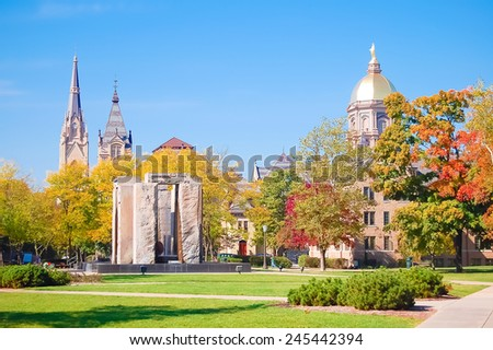 South Bend, Indiana - October 11, 2008:  Beautiful view of the central campus of the University of Notre Dame - stock photo