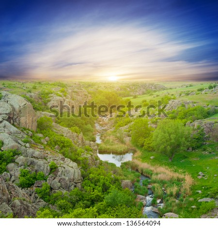 south bug canyon at the sunset - stock photo
