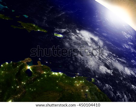South Caribbean region from Earth's orbit in space during sunrise. 3D illustration with highly detailed realistic planet surface. Elements of this image furnished by NASA.