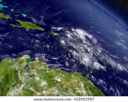 South Caribbean with surrounding region as seen from Earth's orbit in space. 3D illustration with highly detailed planet surface and clouds in the atmosphere. Elements of this image furnished by NASA.
