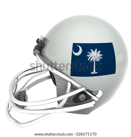 South Carolina flag over football helmet, 3d render, square image, isolated over white - stock photo