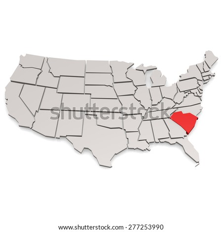 South Carolina map image with hi-res rendered artwork that could be used for any graphic design. - stock photo