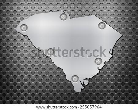 South Carolina metal map on a black metal grid. - stock photo