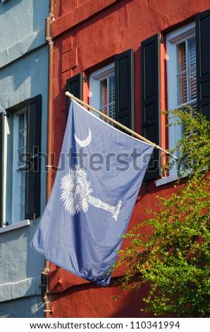 South Carolina state flag in historic neighborhood. - stock photo