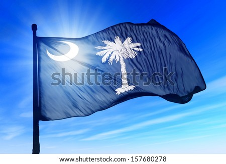 South Carolina (USA) flag waving on the wind - stock photo