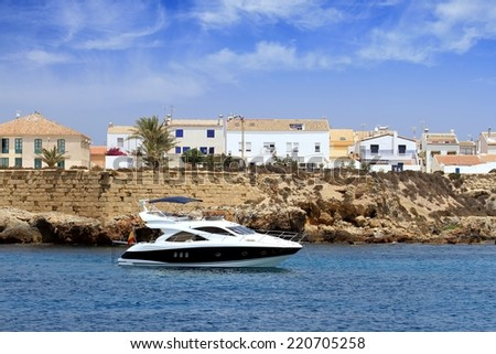 South coast of Tabarca island in Spain with yacht anchored - stock photo