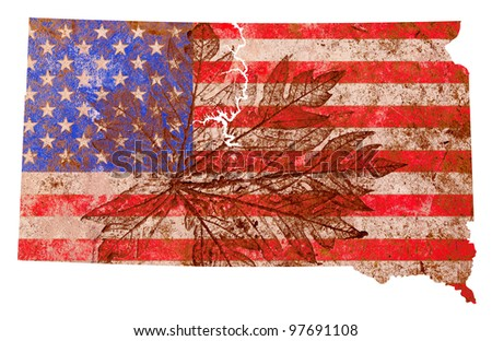 South Dakota state of the United States of America in grunge flag pattern isolated on white background - stock photo