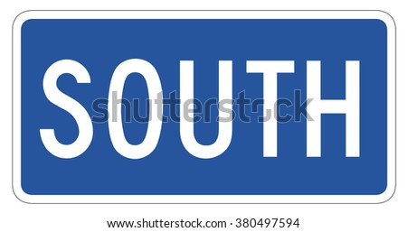 South Directional Sign isolated on a white background - stock photo