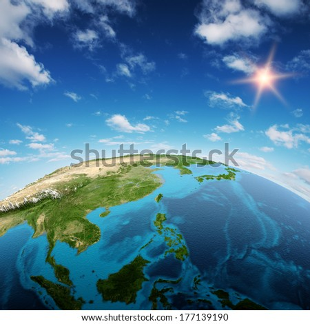 South-East Asia and Oceania. Elements of this image furnished by NASA - stock photo