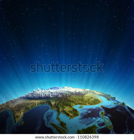 South east asia real relief. Elements of this image furnished by NASA - stock photo