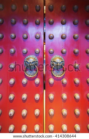 South East Asia, Singapore, December 4th 2015 Chinatown, Buddha Tooth Relic temple, dragon face door knockers