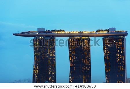 South East Asia, Singapore, December 5th 2015 Marina Bay Sands Hotel and Casino - stock photo