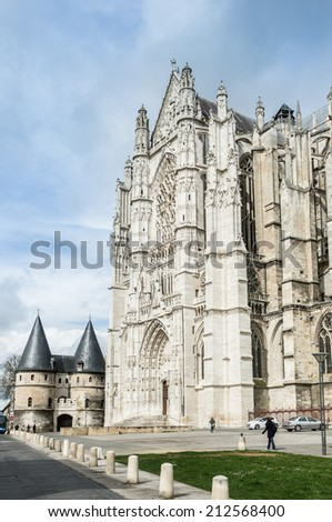 South facade of Beauvais Cathedral with Provincial museum, Beauvais, Oise department, Picardy, France - stock photo