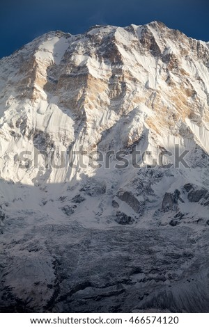 South face of Annapurna I from Annapurna Base Camp in morning light, Annapurna Sanctuary, Kaski District, Nepal.