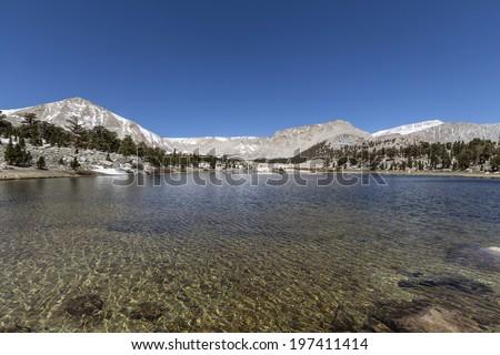 South Fork Lake in California's Cottonwood Lakes Basin Sierra Nevada Mountains Wilderness. - stock photo