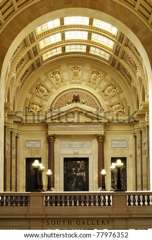 South gallery interior of Madison state capitol in Wisconsin - stock photo