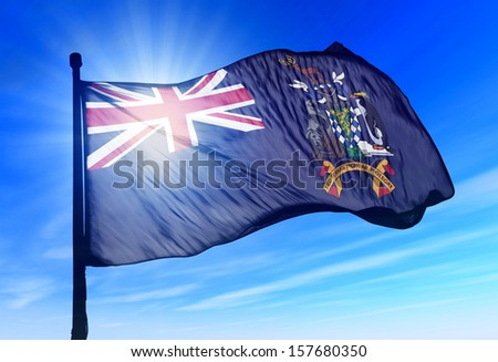 South Georgia and the South Sandwich Islands (UK) flag waving on the wind - stock photo