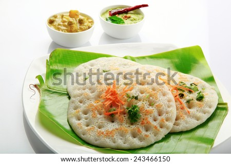 South Indian food set dosa with curry and chutney. - stock photo