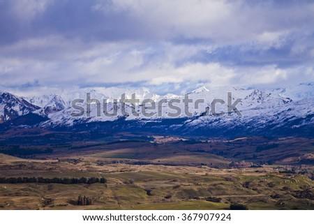 South Island Landscape Scenery, Central Otago, New Zealand - stock photo