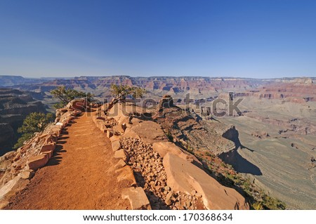 South Kaibab Trail heading into the Grand Canyon - stock photo