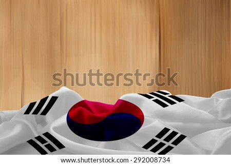 South Korea flag and wood background