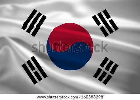 South Korea flag blowing in the wind. Background texture. - stock photo