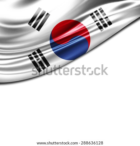 south korea flag of silk and white background  - stock photo