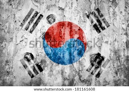 South Korea flag on a weathered grunge background - stock photo