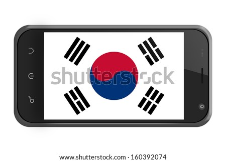 South Korea flag on smartphone screen isolated on white - stock photo
