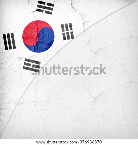 south korea  Flag painted on wall with copyspace for your text or images and white background - stock photo