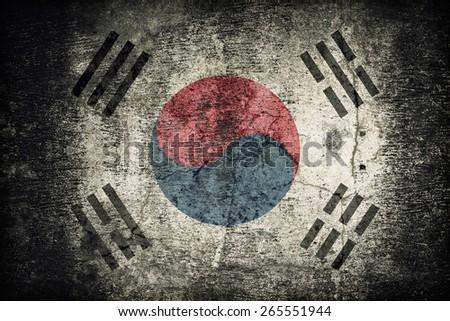 South Korea flag pattern on dirty old concrete wall texture ,retro vintage style - stock photo