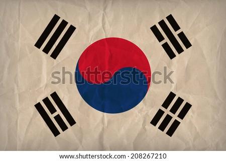 South Korea flag pattern on the paper texture ,retro vintage style - stock photo