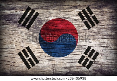 South Korea flag pattern on the wooden board texture ,retro vintage style - stock photo