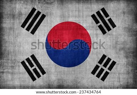 South Korea flag pattern ,retro vintage style - stock photo