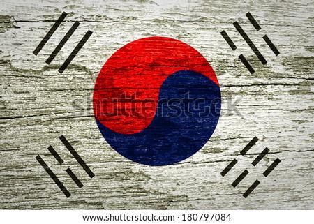 South korea flag wood texture  - stock photo