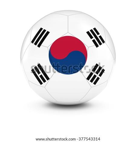 South Korea Football - South Korean Flag on Soccer Ball - stock photo
