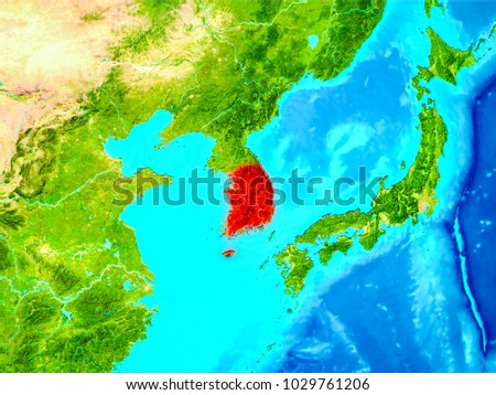 South korea highlighted red on planet stock illustration 1029761206 south korea highlighted in red on planet earth 3d illustration elements of this image gumiabroncs