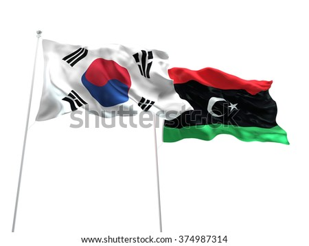 South Korea & Libya Flags are waving on the isolated white background - stock photo