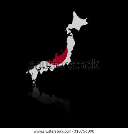 South Korea map flag with reflection illustration - stock photo