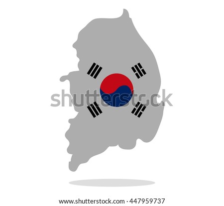 south korea map with flag